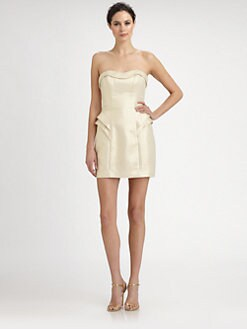 ABS - Strapless Peplum Dress