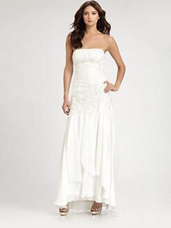 Sue Wong - Strapless Embroidered Gown