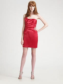 ABS - Strapless Shirred Satin Mini Dress