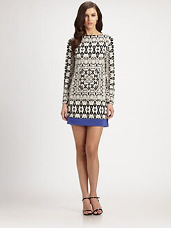 Nicole Miller - Snake-Print Crepe Jersey Dress