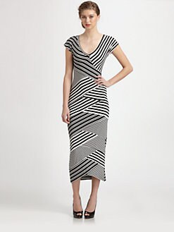 Nicole Miller - Diagonal Striped Stretch Jersey Dress
