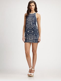 Nicole Miller - Tribal Mesh-Patterned Dress