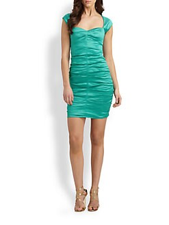Nicole Miller - Ruched Taffeta Dress