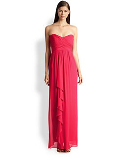 Nicole Miller - Pleated-Top Strapless Chiffon Gown