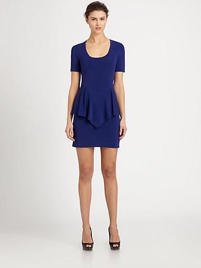 Nicole Miller Stretch Jersey Peplum Dress   Sapphire