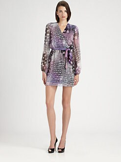 ERIN by Erin Fetherston - Feather Print Wrap Dress