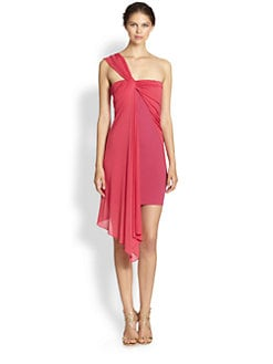 Halston Heritage - Single-Strap Overlay Ponte Dress