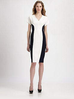 Black Halo - Esperanza Colorblock Stretch Crepe Dress