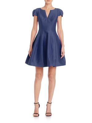 Cap-Sleeve Sateen Dress