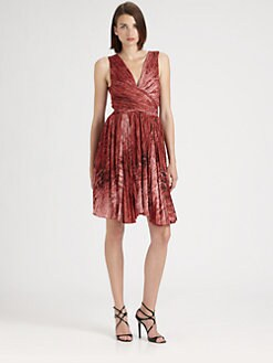 Halston Heritage - Printed Pleated Dress
