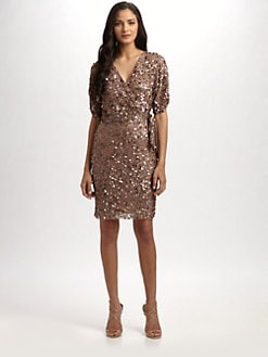 Aidan Mattox - Sequined Wrap Dress