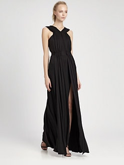 ISSA - Ruched Silk Gown