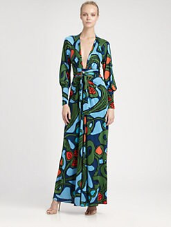 ISSA - Printed Silk Maxi Dress
