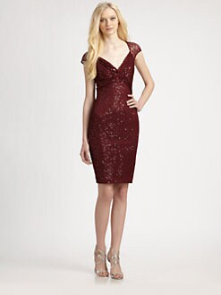 David Meister - Sequin Lace Cap Sleeve Cocktail Dress