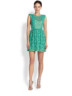ABS - Sheer-Paneled Lace Dress