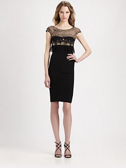 ABS - Beaded & Ruffled Body-Con Dress