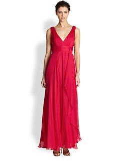 ABS - Silk Chiffon Empire-Waist Gown