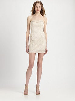 ABS - Strapless Lace-Patterned Dress