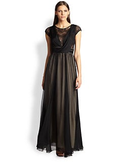 ABS - Lace-Insert Draped Silk Gown