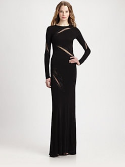 ABS - Rhinestone-Embellished Sheer-Slash Jersey Gown