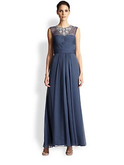 Aidan Mattox - Beaded Silk Illusion Gown