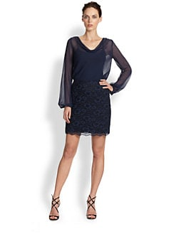 Aidan Mattox - Beaded Lace Drape-Neck Dress