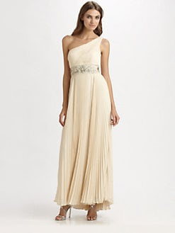Sue Wong - One-Shoulder Pleated Gown