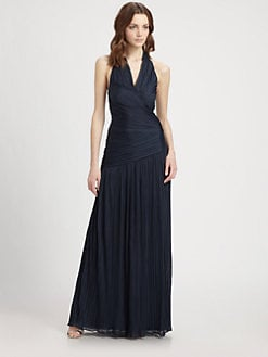 Halston Heritage - Pleated Halter Gown