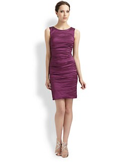 Nicole Miller - Sleeveless Crinkled Sheath