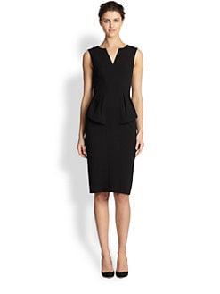 Black Halo - Stretch Crepe Peplum Dress