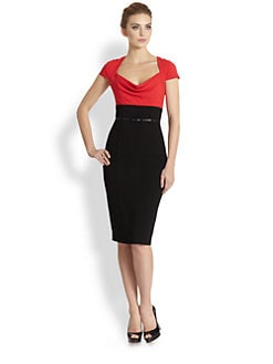 Black Halo - Belted Colorblock Stretch Crepe Dress