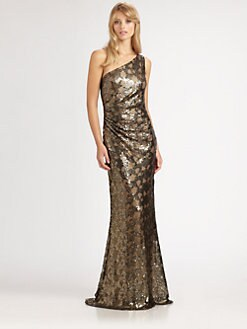 David Meister - Asymmetrical Sequin Gown