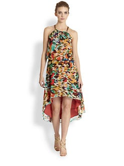 Nicole Miller - Printed Hi-Lo Dress