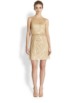 Aidan Mattox - Starburst Sequined Chiffon Dress