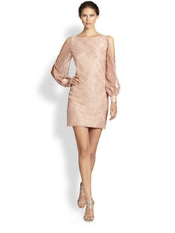 Aidan Mattox - Cutout-Shoulder Metallic Lace Dress