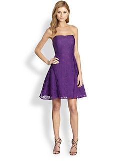 Aidan Mattox - Strapless Satin-Trimmed Lace Dress