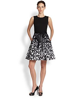 Aidan Mattox - Printed-Skirt Ribbon-Belted Dress