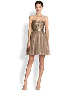 Aidan Mattox - Metallic Faux Leather & Tulle Dress