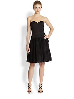 Aidan Mattox - Lace-Skirt Strapless Faille Dress