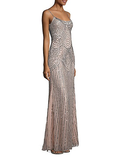 Sequined Slip Gown $217.36 AT vintagedancer.com