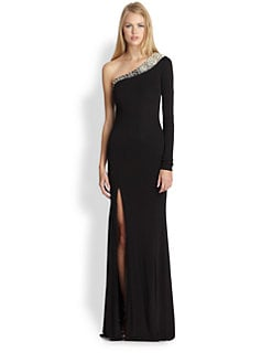 ABS - Beaded One-Shoulder Gown