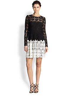 ABS - Two-Tone Lace Dress