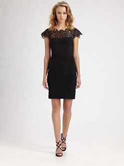 Nicole Miller - Lace-Trimmed Silk Dress