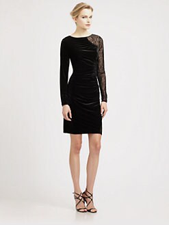 ABS - Lace-Trimmed Velvet Dress