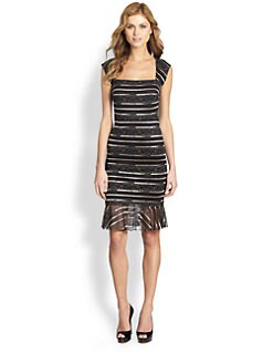 ERIN by Erin Fetherston - Lace-Print Stripe Dress