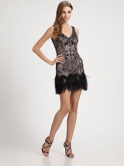 Sue Wong - Feather-Trimmed Beaded Dress