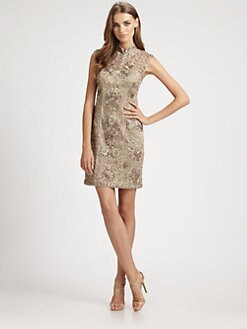 Sue Wong - Embroidered Mandarin Collar Dress