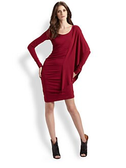 Nicole Miller - Long Sleeve Side Drape Dress