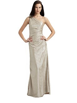 David Meister - Matelasse One-Shoulder Gown