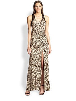 ABS - Mesh-Back Leopard Gown